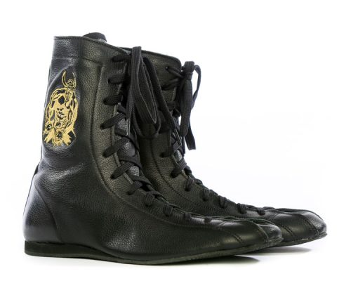minotaur old style bespoke boxing boot – black and gold