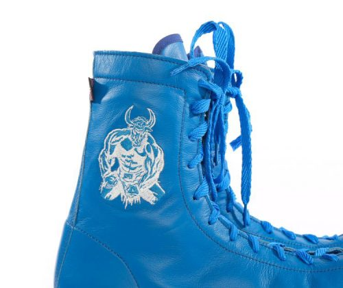 minotaur old style bespoke boxing boot – blue and white