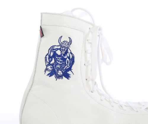 minotaur old style bespoke boxing boot – white and blue