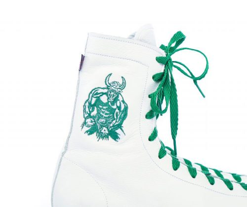 minotaur old style bespoke boxing boot – white and green