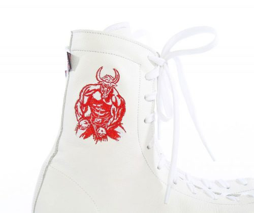 minotaur old style bespoke boxing boot – white and red