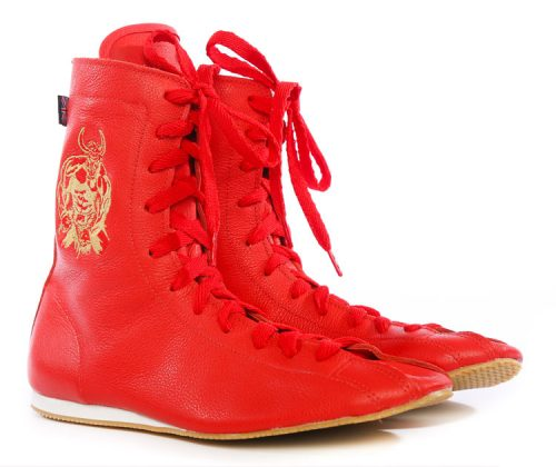 minotaur old style bespoke boxing boot – red and gold