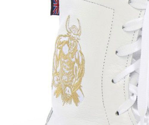 minotaur old style bespoke boxing boot – white and gold