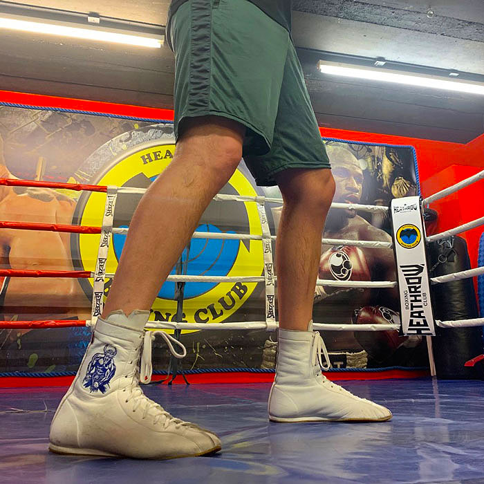 Minotaur White & Blue Boxing Boots