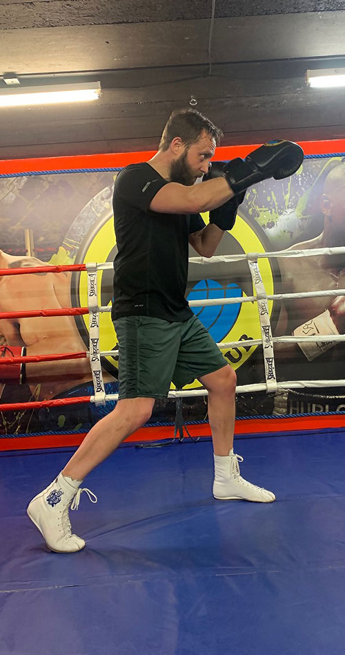 Kevin in the ring wearing Minotaur Old School Boxing Boots