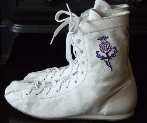 Minotaur White & Blue Boxing Boot with Scottish Thistle motif on left boot